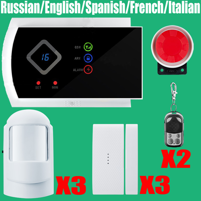 Wireless GSM Alarm System For Home security System with PIR/Door Sensor 850/900/1800/1900MHz Dual Antenna Two Year Warranty