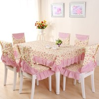 Pink Small Flower Table Cloth 13pcs 6 Chair Seat And Cushion Cover 1 Dinner Table Cloth