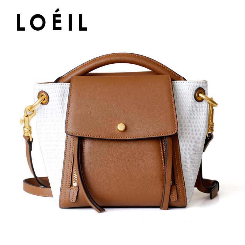 LOEIL Contrast squid bag female leather shoulder bag retro stitching contrast color bucket bag men contrast stitching elastic foot jeans