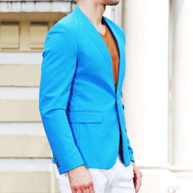 Azul Sur Haute Évent Ciel Qualité Slim Costume Élasticité 2017 Pu Fit Hombre Hommes De Mesure Casual Blazer Costumes Seul Conception vY7bf6gy