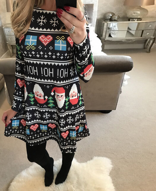 New Christmas Print Dress For Women Casual Long Sleeve 5