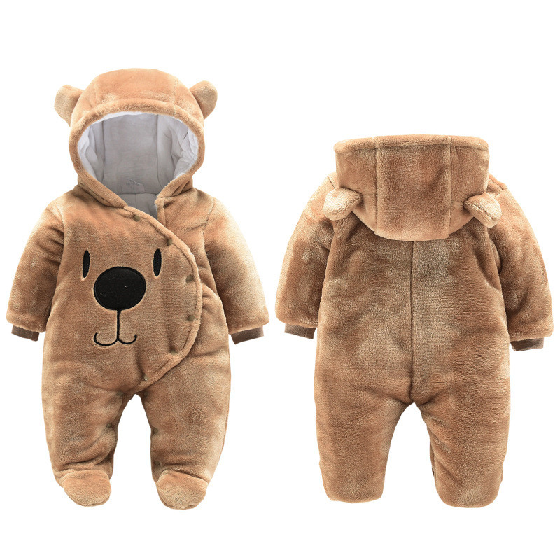 Newborn Baby Girl Clothes 0-3 Months Winter Thick Warm Baby Footies Cotton Infant Kid's Overalls Cartoon Bear Baby Boys Clothing