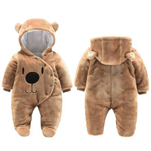 Newborn Baby Girl Clothes 0-3 months Winter Thick Warm Footies Cotton Infant Kids Overalls Cartoon Bear Boys Clothing