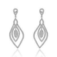Vintage Leaf Designed Long Earrings Zirconia Jewellery Wedding Dangle Drop Earrings for Women Brincos Pendientes