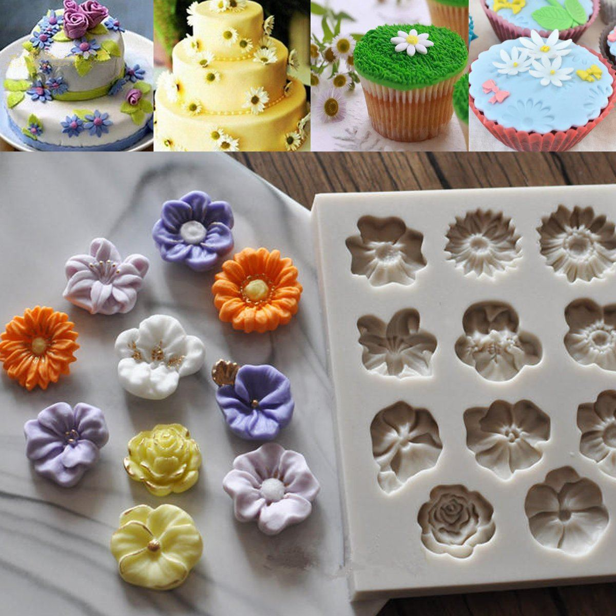 Aliexpress buy new diy daisy rose flowers cake chocolate mold aliexpress buy new diy daisy rose flowers cake chocolate mold silicone candy jely pudding mold sugar fondant baking decorating tools bakeware from izmirmasajfo