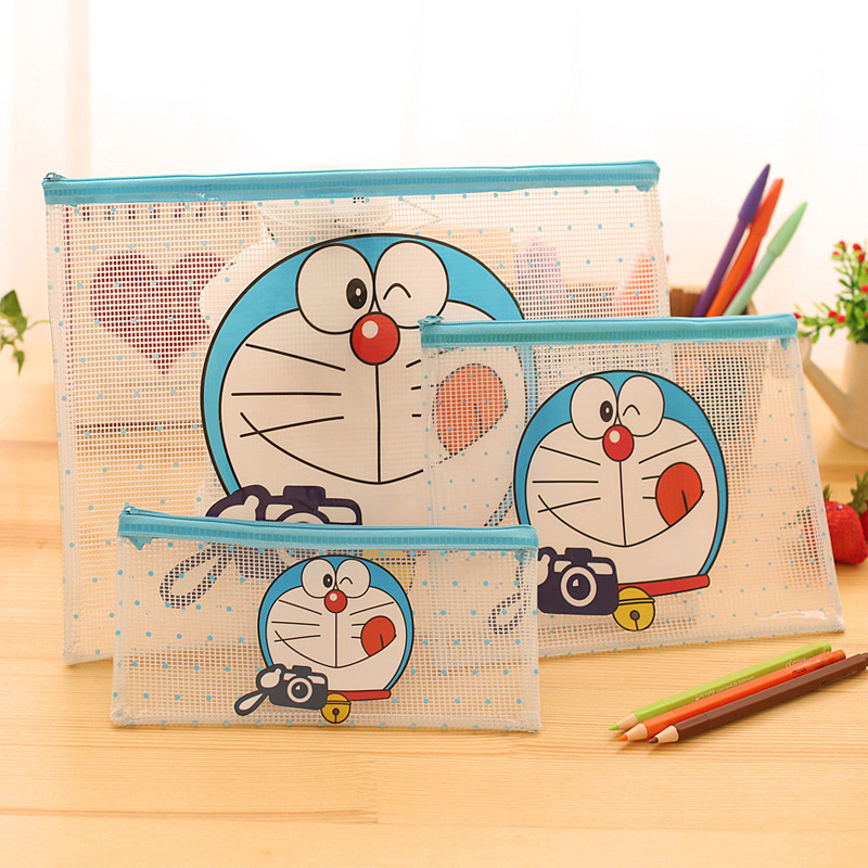 Kawaii School Supplies Japanese Doraemon 3 kinds PVC Transparent Bag With Zipper School Tools Pencilcase Exams Sort out Papers