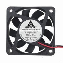 2Pcs Gdstime Brushless DC Cooler Fan 24V 60mm 60x60x15mm 6015 6cm Ball Bearing 2Pin For Computer PC CPU Case Cooling free shipping wholesale for fanuc dedicated nmb minebea 2406vl 05w b69 24v 0 10a 6015 60mm 6cm 60 60 15 mm waterproof fan