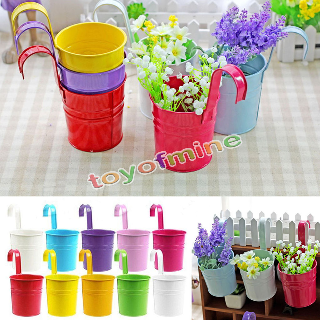 10pcs 10 Colors Fashion Metal Iron Flower Pot Hanging Balcony Garden ...