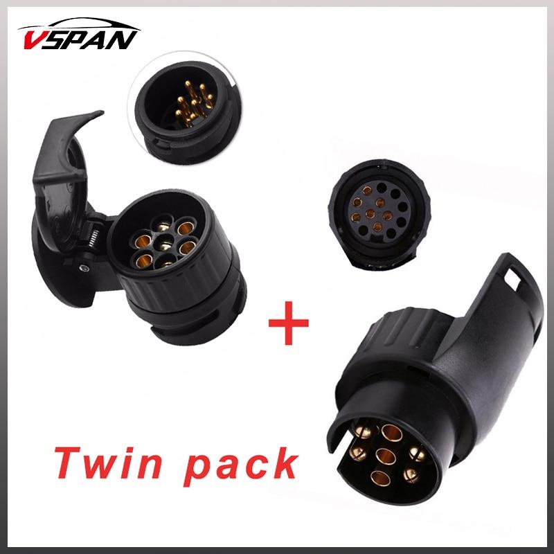 13 to 7 Pin & 7 to 13 pin Trailer Electric Converter Tow Bar Plug Adaptor Socket Trailer Caravan Wiring Electrical Converter