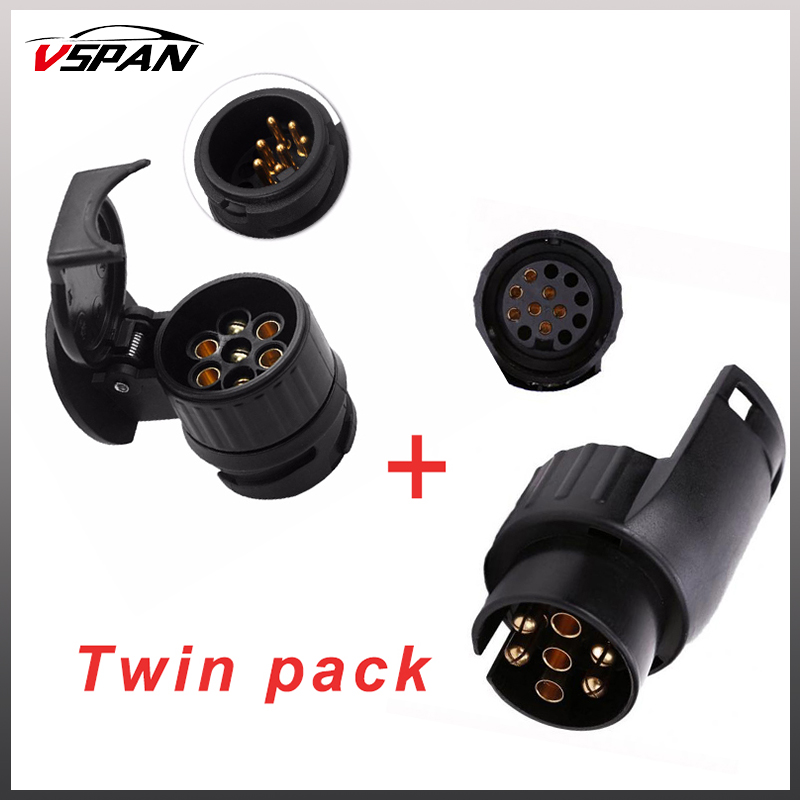 13 to 7 Pin & 7 to 13 pin Trailer Electric Converter Tow Bar Plug Adaptor Socket Trailer ...