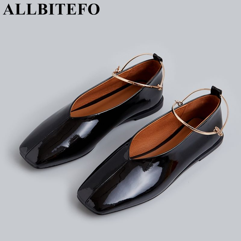 ALLBITEFO size 33 41 full genuine leather square toe women dance shoes casual and comfortable flat