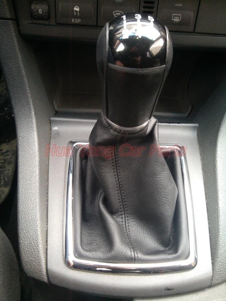 Silver Black Car Gear Manuel Stick Shift Knob Leather