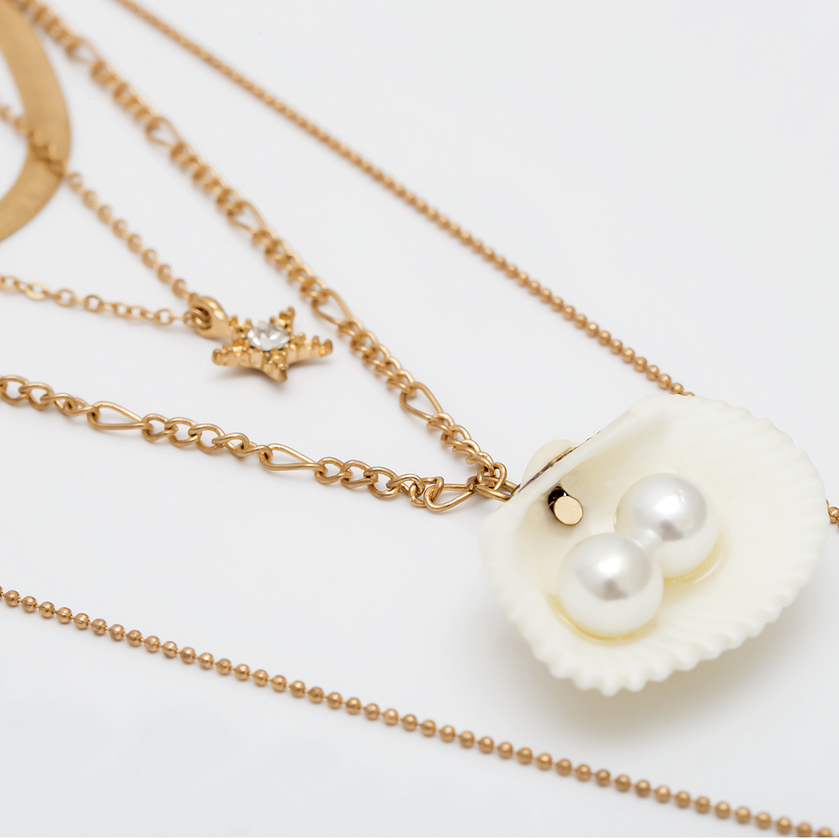 Simple Natural Scallop Pendant Necklace Female Imitation Pearls Choker Necklaces for Women Gold Color 2019 Fashion Jewelry New