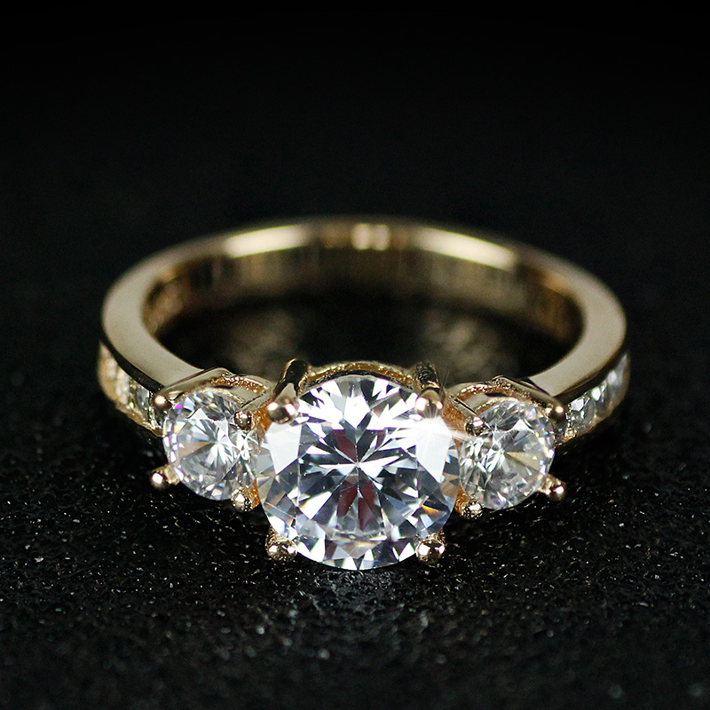 solid tre sten 925 sterling silver förlovningsringar mode stil 3 - Märkessmycken - Foto 5