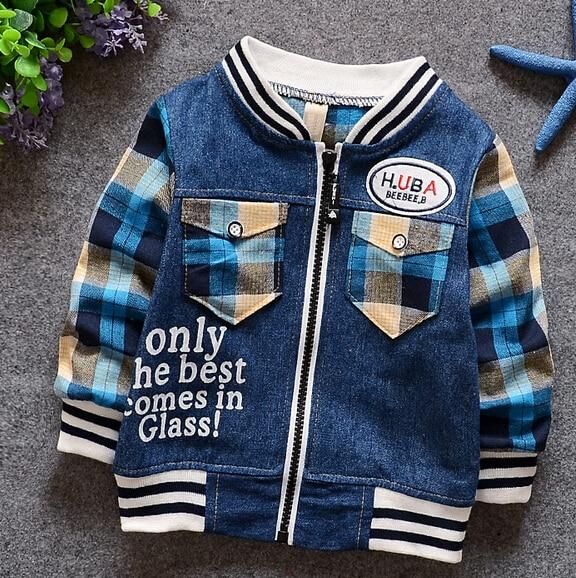 (1piece /lot) 100% cotton 2016 cute boy sport denim jacket (1-3 year old )