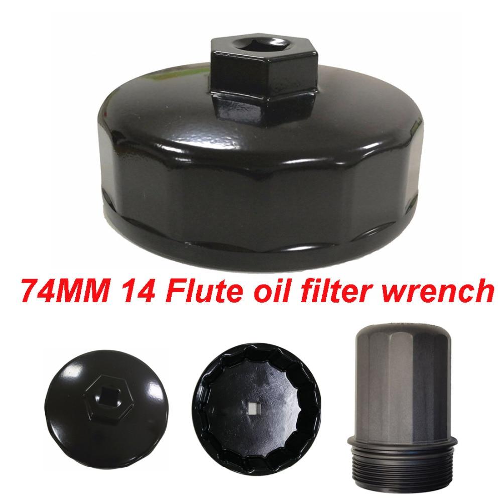 74mm 14 Flute Oil Filter Wrench Caps Tool Black for Mercedes Porsche VW Audi