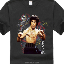 Camiseta de algodón Summer Cute Bruce Lee The Dragon Design T Shirt Tops impresas personalizadas populares Camisetas divertidas de la moda