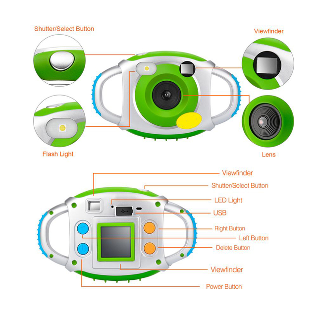 MEMTEQ 1.5 Inch 5MP HD Digital Camera Children Mini Kids Creativity Camera For Kids Gift Support Video Recording 32GB SD Card