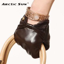 Brand Genuine Leather Gloves High Quality Women Sheepskin Gloves Fashion Trend Bow-Knot Finger Driving Glove EL025NN