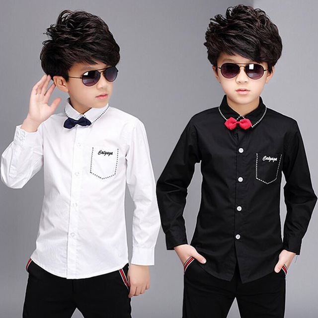 Black White Shirts For Boys With Bowtie 2018 New Spring Formal Kids