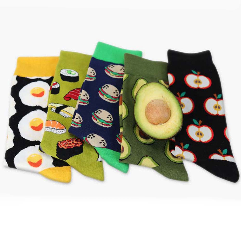 1 Pair Fashion High Hosiery Sock Unisex Women 3D Fruit Happy Sock Avocado Apple Cherry Crew Sock Men Funny Art Cotton Soft Socks