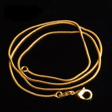 Classic 1 mm Snake Chain Necklace for Men Women Gold color Link Jewelry Drop Shipping 16/18/20/22/24/26/28/30 inch(China)