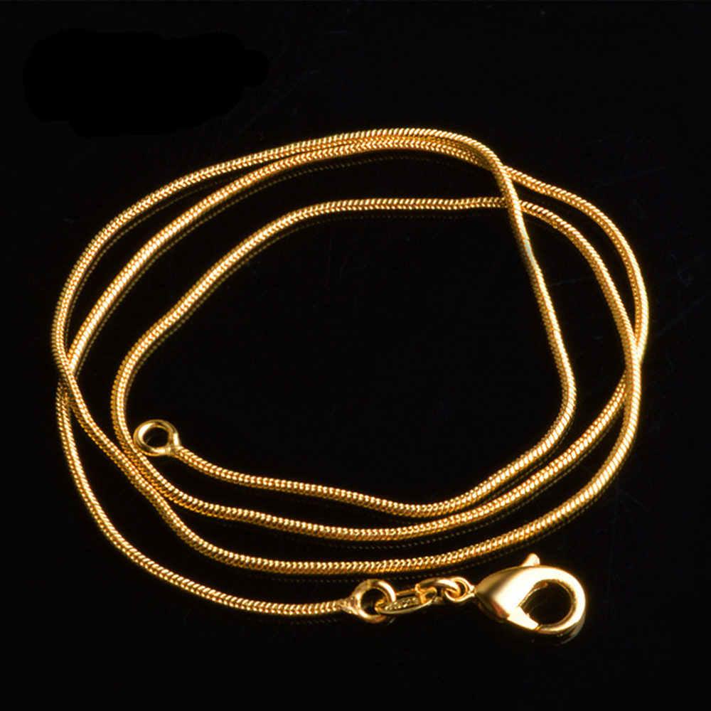 Klasyczne 1 mm wąż łańcuch naszyjnik dla kobiet mężczyzn złoty kolor Link biżuteria Drop Shipping 16/18/20 /22/24/26/28/30 cal