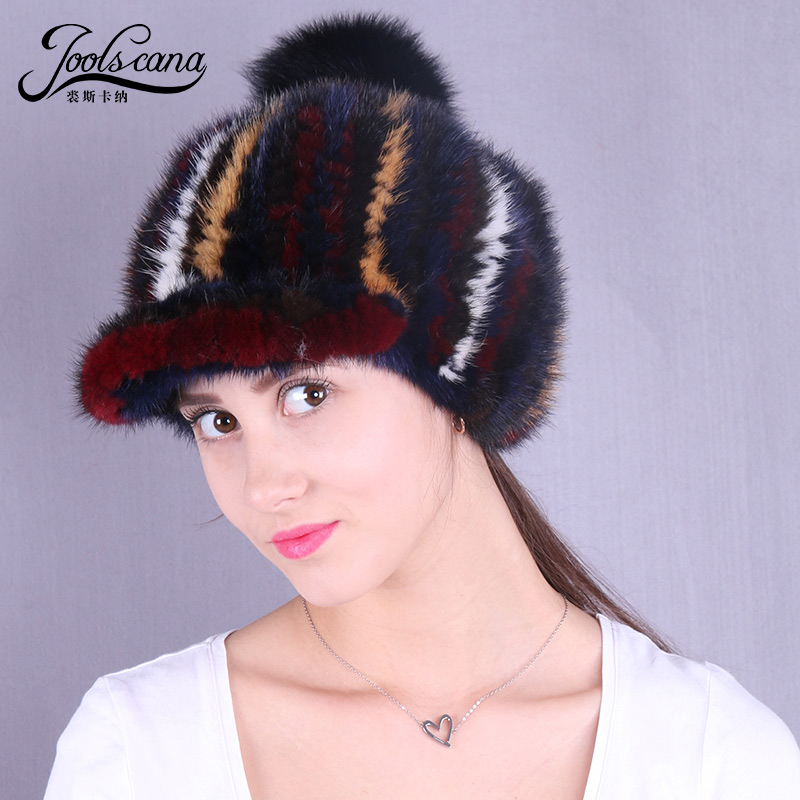 real mink fur hat women pompom cap knitted mink new fashion 2018 new brand cap beanie