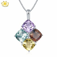 Hutang Natural Multi Color Gemstones Solid 925 Sterling Silver Pendant Necklace Fine Jewerly Wholesale Pendants