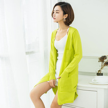Knitted Cardigan Summer For Women Long Thin Silk Feeling Coat Sun Protection Outwear Air Condition Sweater Slim All Match D202