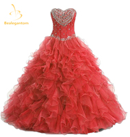 2018 New Hot Sexy Beading Blue Red Quinceanera Dresses Ball Gowns Party Gowns Dress For 15 Years Vestido De 15 Anos QA508