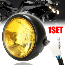 1PC 6.5 12V 35W Retro Motorcycle LED Headlight With Black Grill Cover Housing Yellow Lens For Cafe Racer Choppers Bikes