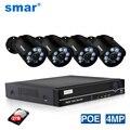 Smar 4CH 4MP POE NVR комплект H.265 система безопасности HDMI Металл 4MP ИК наружная CCTV IP камера P2P комплект видеонаблюдения 2 ТБ HDD Xyeme