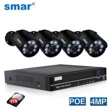 Smar kit de vigilância externa, 4ch 4mp poe nvr sistema de segurança h.265 hdmi metal 4mp ir externo cctv ip câmera p2p conjunto 2tb hdd xyeme