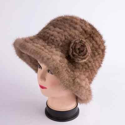ใหม่แฟชั่นของแท้จริงถัก Mink หมวกขนสัตว์หมวกผู้หญิงถักแฟชั่นฤดูหนาวหมวกดอกไม้รัสเซีย warm
