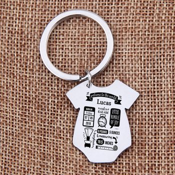 Gift Key Chain New Born Baby Souvenir Jewelry Baby Siamese shape First Mother's Father's day Gift Couple Anniversary Charm 3