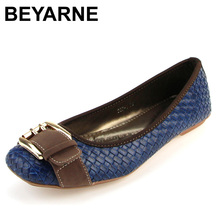 BEYARNE new arrival hasp knitted women single shoes square toe ballet flats soft bottom fashion work shoes woman flat moccasins