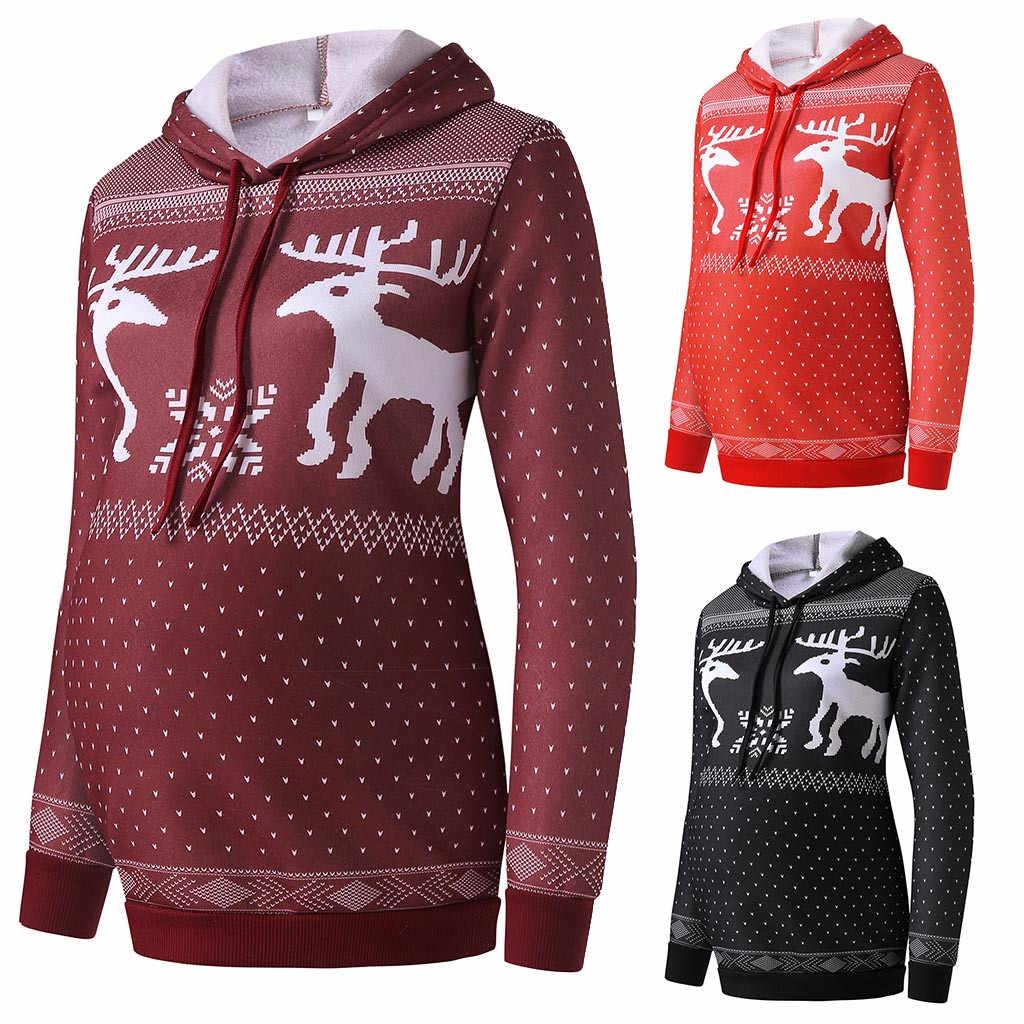 Sudadera con capucha de maternidad ropa de invierno para mujer 2019 estampado Navidad Reno pulóver hoodies mujeres embarazadas sudaderas chaqueta de enfermería