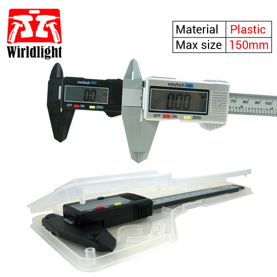 150mm 6inch Lcd Digital Electronic Vernier Caliper Plastic Carbon Diagram Fiber Calipers Gauge Micrometer Measuring Tool Without