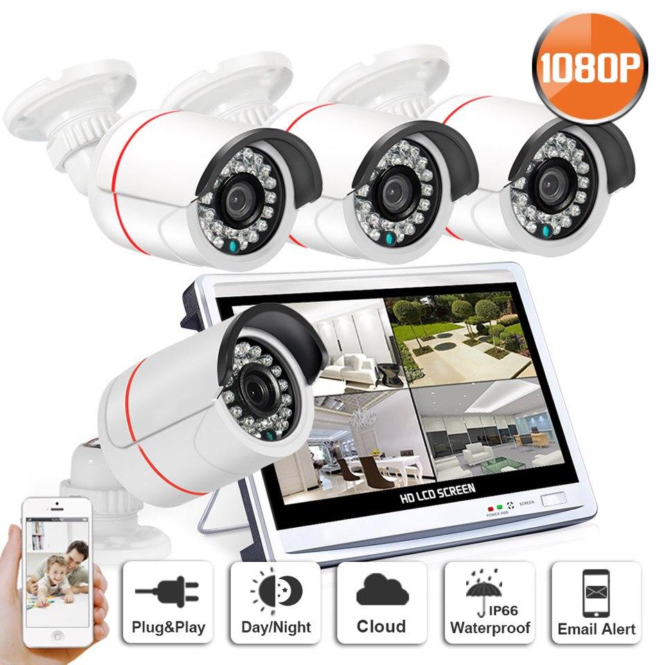 ANRAN Surveillance 4pcs 1080P AHD 24 IR Waterproof Security Camera System 4CH HD 12 Inch LCD Monitor AHD DVR CCTV Kits HDD