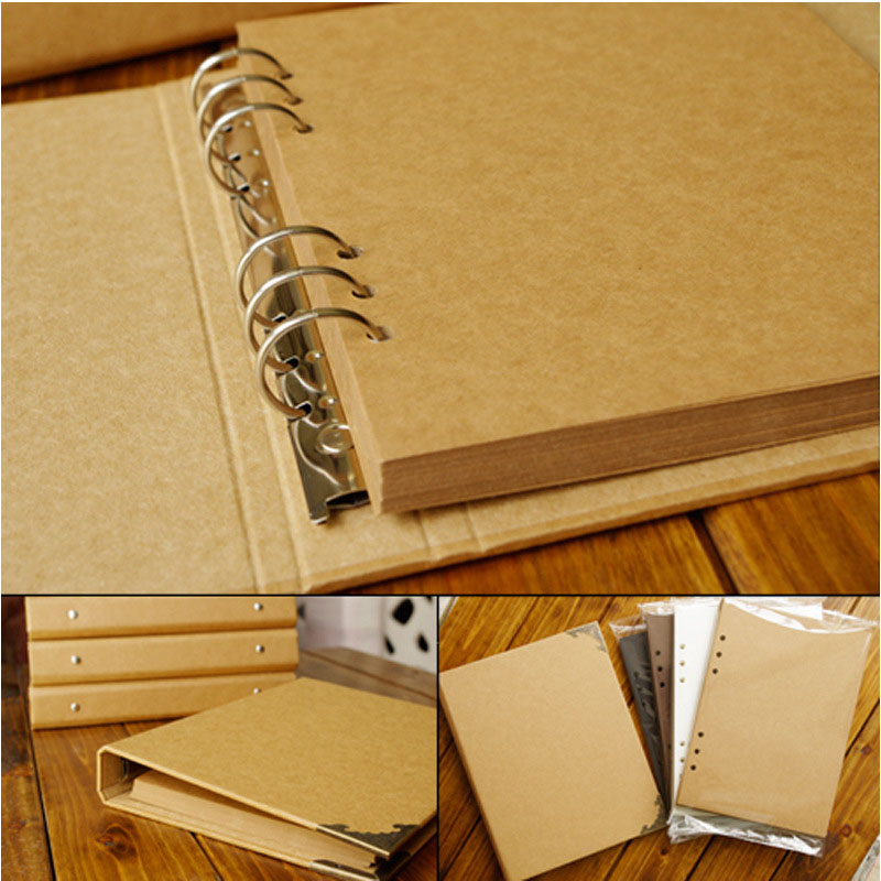 40 Pages mariage/bébé/bricolage/feuilles mobiles Album Photo Scrapbook blanc Album Photo couverture Kraft Album pour Photos pour enfants reliure
