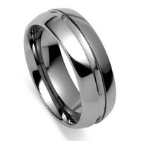 Tailor Made Centre Groove Line Tungsten Carbide Ring UK Size H Z4 Half NR29