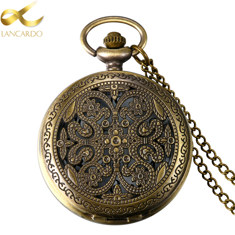 Lancardo 1.85 Hot Selling Vintage Aulic Hollow Carving Quartz Men Pocket Watch Necklace Relogio De Bolso Gift Quartz Watch fashion vintage pocket watch train locomotive quartz pocket watches clock hour men women necklace pendant relogio de bolso