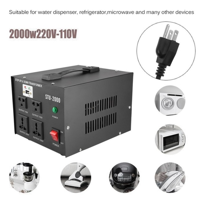 220V 110V 2000W Step Up Down Transformer With USB Voltage Regulator ...