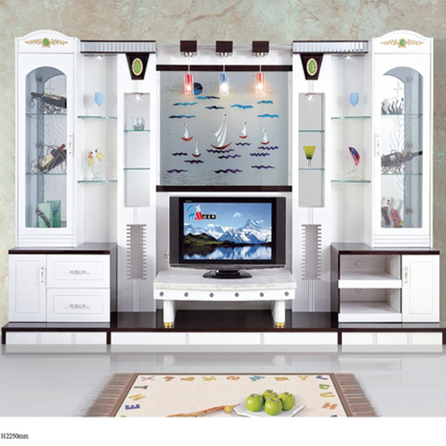 Modern Brief Fashion White Paint Living Room Furniture Wine Glass Cabinet  Office Combination Wall Mounted Tv
