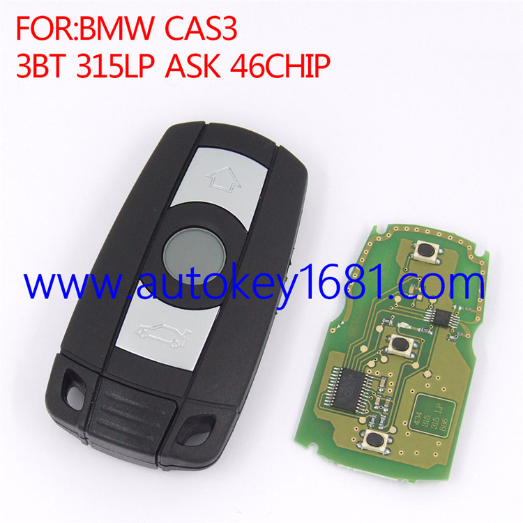 Remote control smart card car key for BMW CAS3 3button 315LPMHz ID46 transponder chip