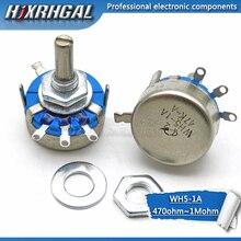 5PCS WH5-1A Carbon Potentiometer   470R 1K 2K 1K5 10K 22K 47K 4K7 100K 220K 3-Terminals Round Shaft Rotary Taper WH5 hjxrhgal