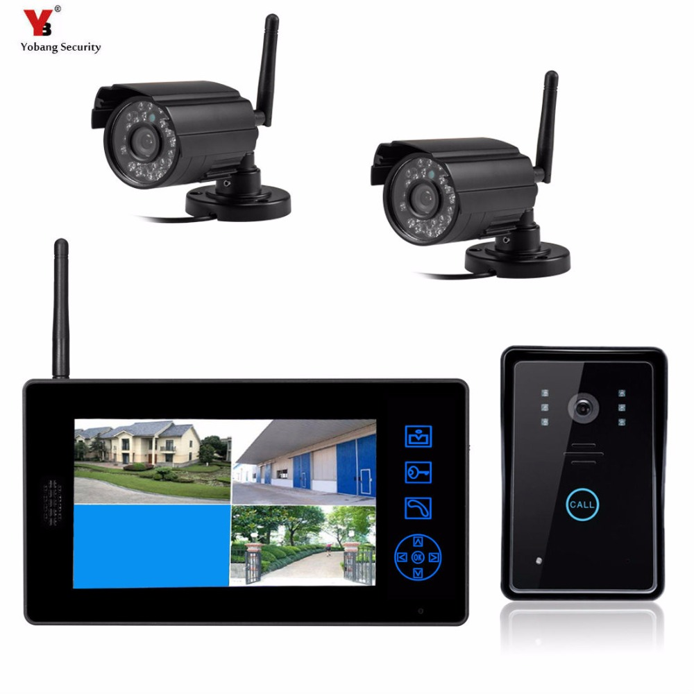 YoBang Security 7 Inch 2.4G Wireless Color Video Door Phone Intercom Doorbell IR Outdoor Camera+1 Monitor Indoor Units