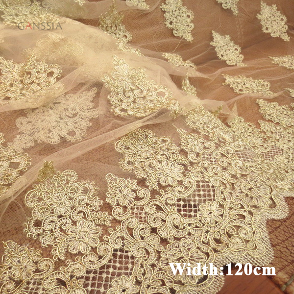 1 Yard Width 120cm Light Beige Car Bone Lace Gold Color