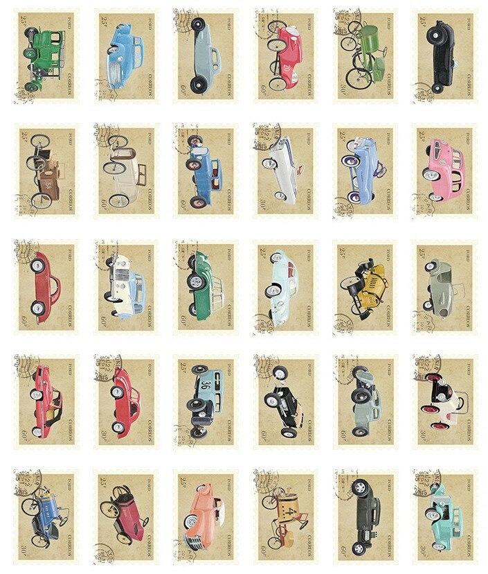AEMX15-vintage stamp car paper postcard(1lot=6pieces)